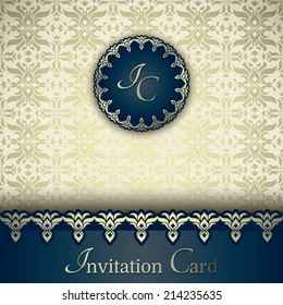 Vintage card, elegant border, golden floral background