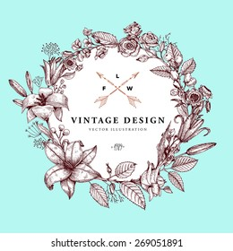 Vintage Card with Engraving Flowers. Floral Wreath. Flower Frame for Summer Logo and Label Designs. Mint Background.