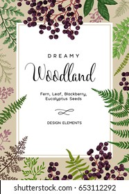 Vintage card with fern leaves and black berries. Wedding invitation. Design elements. Vector. Kraft.