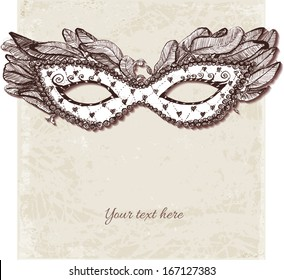 Vintage card with festive venetian mask. Vector illustration.