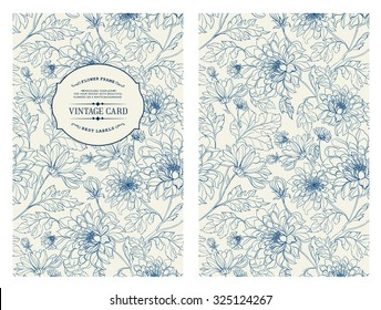 Vintage card with flowers on background. Book cover with flower texture. Blue lines on white background. Vector illustration.
