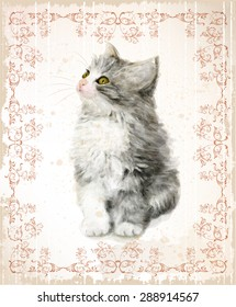Vintage card with fluffy kitten. Imitation of watercolor painting.