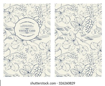 Vintage card with grapes on background. Book cover with vine texture. Black lines on white background. Vector illustration.