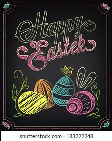 Vintage card with graphic elements for Easter. Chalking, freehand drawing