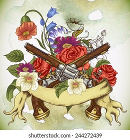 Vintage card with a gun, flowers and ribbon, vector illustration