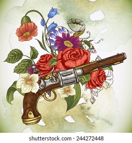 Vintage card with a gun and flowers, vector illustration
