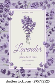 Vintage card with hand drawn floral elements in engraving style - fragrant lavender. Vector illustration.