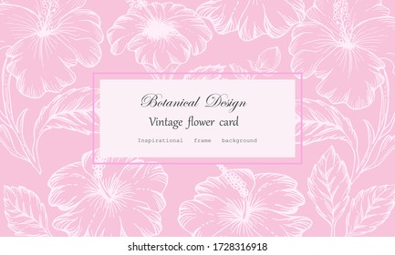 Vintage card hand drawn hibiscus and leaves flower floral wreath Floral frame for flower shop with label design Summer rose flower greeting card Floral background for cosmetic packaging