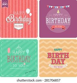 Vintage card - Happy birthday set. Vector illustration.