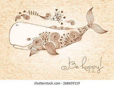 Vintage card with happy whale. Vector illustration.