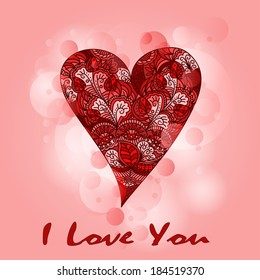 Vintage card with heart i love you