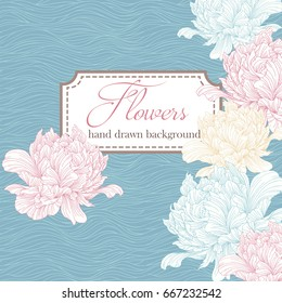 Vintage card or invitation with abstract peonies floral background, template for design, wedding invitation, label, banner, cover.