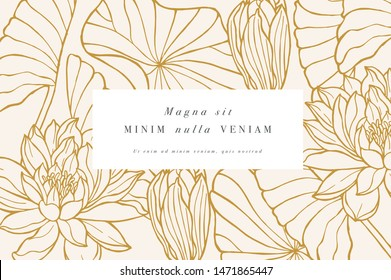 Vintage card with lotus flowers. Floral wreath. Flower frame for flowershop with label designs. Floral water lily greeting card. Flowers background for cosmetics packaging