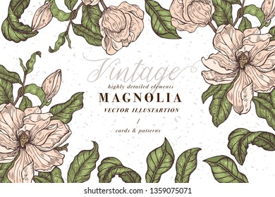 Vintage card with magnolia flowers. Floral wreath. Flower frame for flowershop with label designs. Summer floral magnolia greeting card. Flowers background for cosmetics packaging