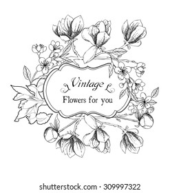 Vintage card with magnolia flowers. Hand drawn garden flowers of apple tree, iris and magnolia. Vector illustration