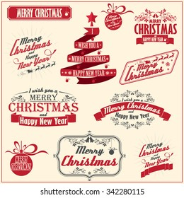 Vintage card with Merry Christmas. Calligraphic And Typographic. Retro color.