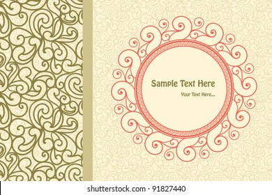 Vintage Card With Paisley Design Seamless Background