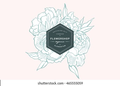 Vintage card with peonies flowers. Floral wreath. Flower frame for flowershop with label designs. Summer floral peonies greeting card. Flowers background for cosmetics packaging.