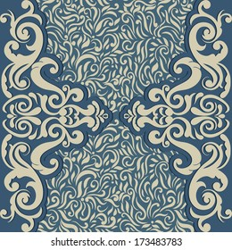 Vintage card with seamless abstract floral wallpaper, Can be used as invitation, Menu etc