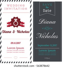 Vintage card template for wedding invitation or announcement