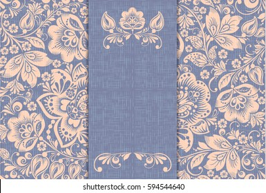 Vintage card vector, russian flower ornament in khokhloma style, violet burlap background