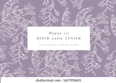 Vintage card with wisteria flowers. Floral wreath. Flower frame for flowershop with label designs. Summer floral wisteria greeting card. Flowers background for cosmetics packaging