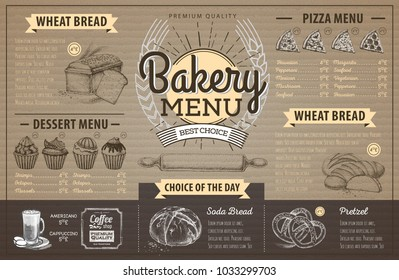 Vintage cardboard bakery menu design. Restaurant menu