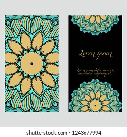 Vintage cards with Floral mandala pattern. Vector template. The front and rear side.