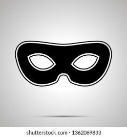 Vintage carnival mask, simple black silhouette on gray