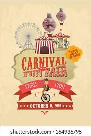 vintage carnival/fun fair/ fairground/circus poster template vector/illustration
