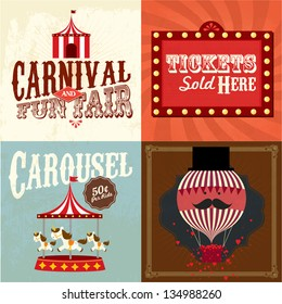 Vintage carnival/fun fair template vector/illustration