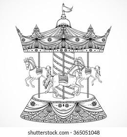 Vintage carousel. Hand drawn vector illustration
