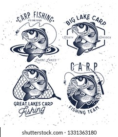 Vintage Carp Fishing Logo. Vector illustration.