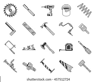 vintage carpenter tools icons set. wood texture style. vector illustration