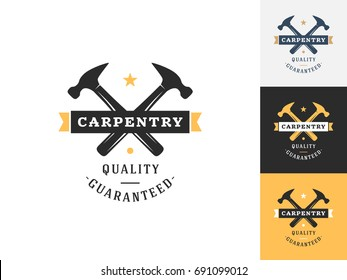 Vintage carpentry logo design template. Vector logotype elements, Icons, Symbols, Retro Labels, Badges and Silhouettes. Vector illustration
