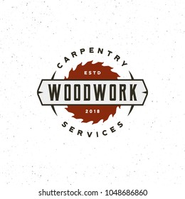 vintage carpentry logo. retro styled wood works emblem, badge, design element, logotype template. vector illustration