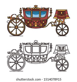 Vintage carriage contour or chariot outline. Fairytale waggon for king or queen, romantic vehicle for wedding, retro stagecoach or clarence, victorian wagon icon. Cartoon vehicle for princess.
