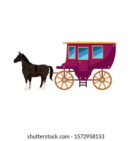 vintage carriage and horse icon over white background, vector illustration