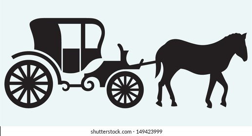 Vintage carriage and horse-drawn isolated on blue background