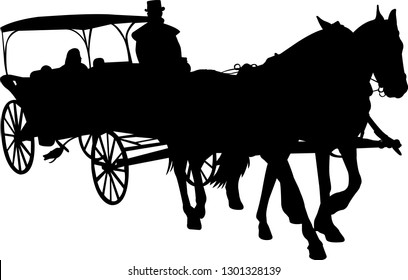 vintage carriage silhouette - vector