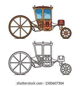 Vintage carriage for wedding or royal horse chariot for travel. Contour or outline of retro buggy or isolated icons of classic marriage wagon, medieval brougham or victorian cart. Fairytale transport