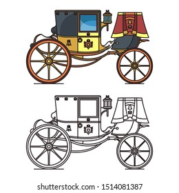 Vintage carriage or wedding waggon, royal chariot or isolated icon of cart. Closed marriage calash or phaeton. Princess or queen, fairytale medieval victorian vehicle. Cab outline. Romantic transport