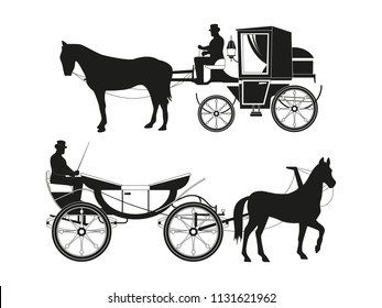 Vintage carriages with horses. Vector pictures of retro fairytale transport. Illustration antique carriage, stagecoach with coachman black silhouette