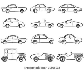 Vintage cars doodle icons set