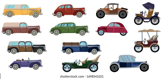 Vintage cars set. Old cars vector.