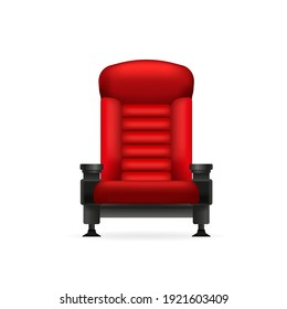 Vintage cartoon illustration with red cinema chair on white background. 3d illustration.