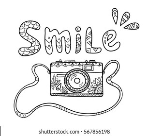 Vintage cartoon photo camera on the strap with ornate pattern and smile text for adult coloring book.