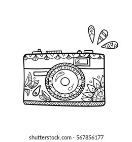 Vintage cartoon photo camera with ornate pattern for adult coloring book.
