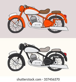 Vintage cartoon red and black motorcycles. Vector doodle illustration