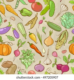 Vintage Cartoon Seamless Pattern with Colored Hand-drawn Contours of Vegetables